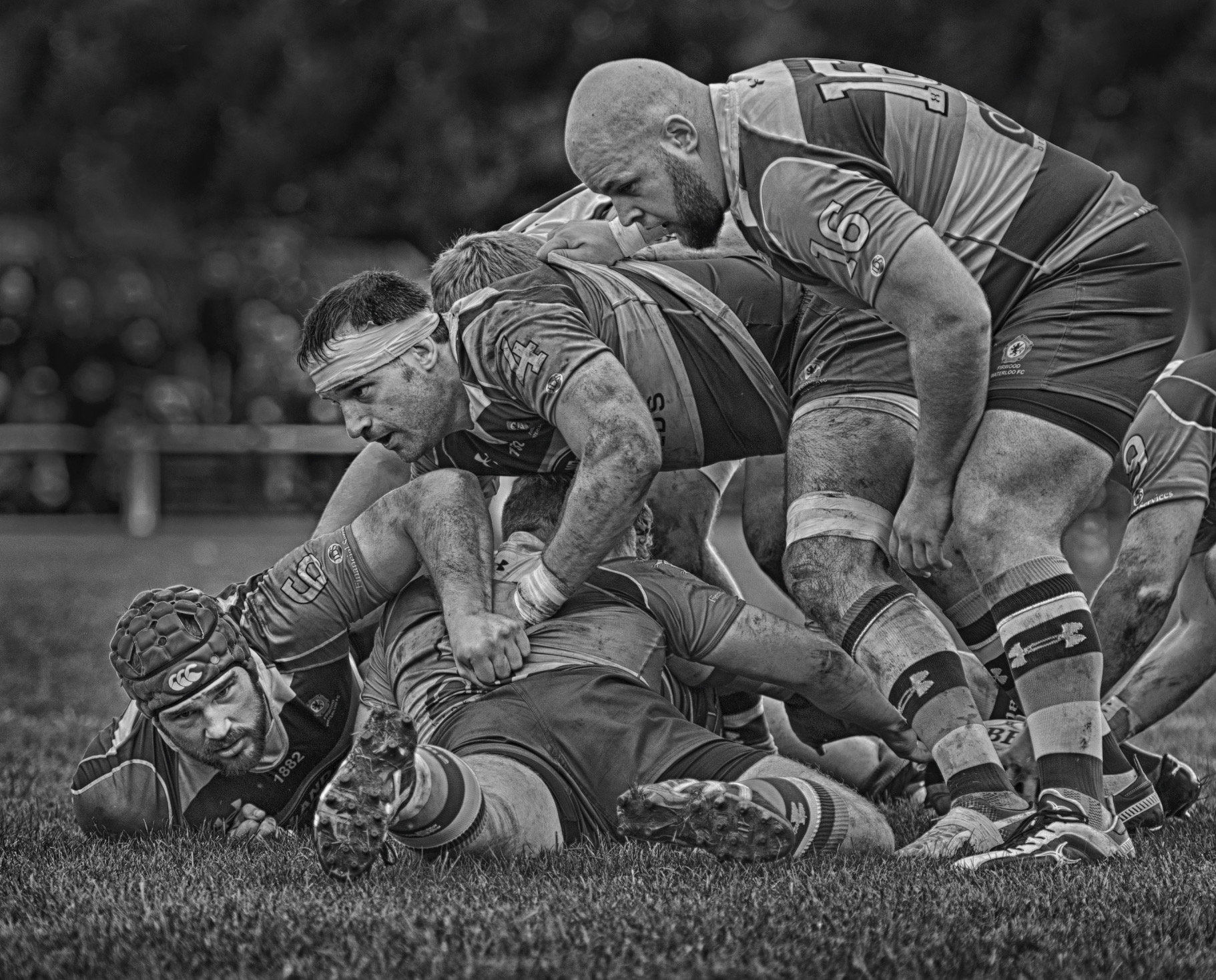 Ruck in a rugby match